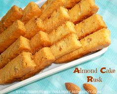 Simply Sweet 'n Savory: Almond Cake Rusk - Cake turned into biscuit, yum! Egg Free Recipes, Cupcake Recipes, Cupcake Cakes, Dessert Recipes, Cupcakes, Biscuit Bar, Biscuit Cookies, Cake Cookies, Cake Rusk Recipe