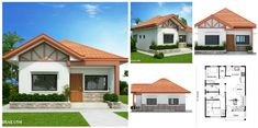 Two bedroom small house design is small version of Ruben Model. Simple design with long span galvanized iron roofing, pre-paint metal tile effect on steel purlins and trusses. Wall is white Two Bedroom House Design, Bedroom House Plans, Little House Plans, My House Plans, Modern Bungalow House, Bungalow House Plans, Simple House Design, Modern House Design, Beautiful House Plans