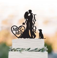 personalized wedding cake topper with dog and bride agroom silhouette