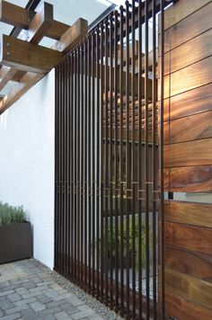 """""""Less is enough"""" affirms Pier Vittorio Aureli. We believe it is possible to say many things about Architecture with a minimum of gestures. Front Gate Design, House Gate Design, Fence Design, Modern Entrance Door, Entrance Gates, Modern Window Grill, Grill Door Design, Pergola Designs, Glass Design"""