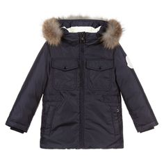 Boys navy blue down filled parka coat by luxury brand Moncler Enfant. It is made in smooth nylon, and has detachable fur trim on the hood. There is a large white rubberised logo on the sleeve, and the brand name on the back. The chest pockets have popper fastening, and the hip pockets fasten with zips. Moncler, Best Parka, Europe Fashion, Parka Coat, Large White, Fur Trim, Luxury Branding, Canada Goose Jackets, Topshop