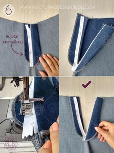 Cómo coser la cremallera para jean – Nocturno Design Blog Sewing Clothes Women, Sewing Pants, Barbie Clothes, Sewing Collars, Sewing Pockets, Costura Diy, Dress Sewing Patterns, Skirt Patterns, Coat Patterns