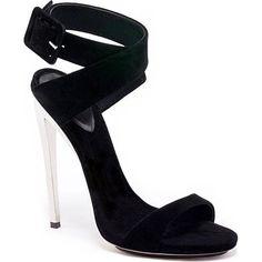 Katy Perry wearing Giuseppe Zanotti Metal Heel Suede Sandals.