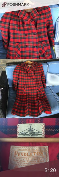 1960's vintage Pendleton scotch plaid coat. I bought this in the 60s. Worn very little and been hanging in my cedar closet ever since. Made of wool, very warm and comfortable. Excellent condition. Pendleton Jackets & Coats