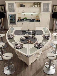 ilot-cuisine-moderne-design-forme-bateau-tabourets #Modernkitchenbar