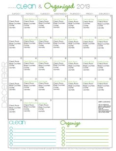 Clean + Organized 2013 December's FREE Cleaning Calendar via Clean Mama