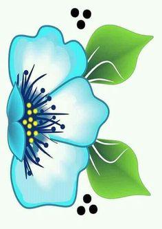 Flor azul Star Painting, One Stroke Painting, Oil Painting Flowers, Fabric Painting, Diy Painting, Cartoon Flowers, Ganesha Painting, Pole Art, Art Basics