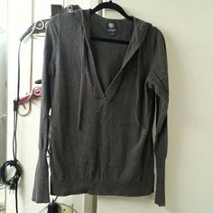 Ae.dark grey  cardigan hoodie Worn a few times.. has some wear left in it.. lightweight material.. American Eagle Outfitters Tops Sweatshirts & Hoodies