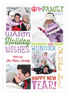 Colorful Warm Holiday Wishes Christmas Photo Card
