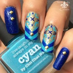 Nails by Cassis: Blue Star Cross Stamping Mani