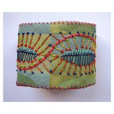 Green Cuff Hand Embroidered by MadrigalEmbroidery on Etsy
