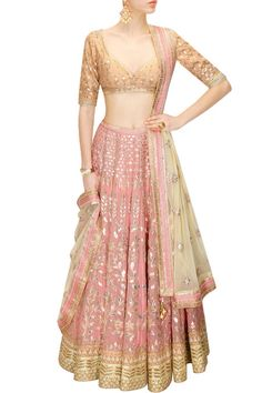 Buy Blush Pink Gota Patti Embroidered Lehenga Set By Anita Dongre online in India at best price. Featuring a blush pink georgette foil lehenga embellished with traditional gota patti embroidery in Lehenga Designs, Indian Attire, Indian Ethnic Wear, India Fashion, Asian Fashion, Saris, Indian Dresses, Indian Outfits, Indische Sarees
