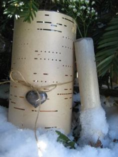 Old player piano roll turned into a luminary- love this idea.