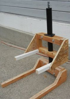 Hive Lift by Will Deutschman -- Homemade hive lift constructed from lumber, plywood, and a trailer jack. Powered by a cordless drill. http://www.homemadetools.net/homemade-hive-lift-3