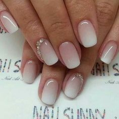 Nude & Glitter Wedding Nails for Brides / http://www.himisspuff.com/wedding-nail-art-desgins/13/ #bridesmakeup