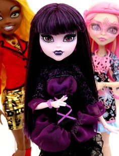 Monster High Frights Camera Action™ Clawdia Wolf™, Viperine Gorgon™ and Elissabat™.