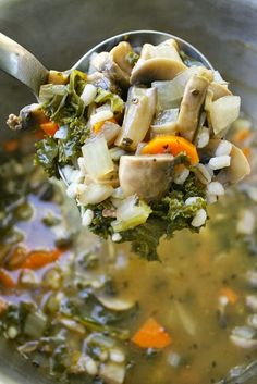 Mushroom Barley Soup is loaded with cancer-fighting ingredients like kale and mushrooms | The Garden Grazer