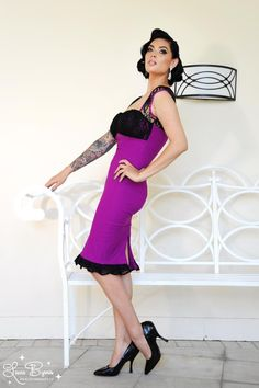 Micheline Dress in Baton Rougue Bengaline with Black Lace | Pinup Girl Clothing