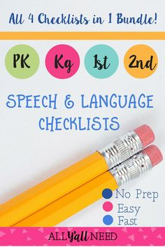 Speech & language checklist bundle for Pre-K kindergarten and first and second grade. Designed for SLPs in the school setting. Print and keep copies for teachers who have concerns about students. Speech Therapy Activities, Speech Language Therapy, Language Activities, Speech And Language, Speech Pathology, Teacher Checklist, Receptive Language, Beginning Of The School Year, Kindergarten