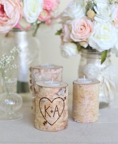 personalized birch candle holders rustic