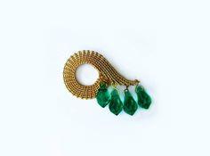 Seven Seas of Rye - Gold and Emerald Wire Jewellery, Jewelry, Rye, Seas, Emerald, Brooch, Earrings, Gold, Jewellery Making