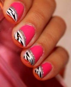 #cool #zebra #pink #nails