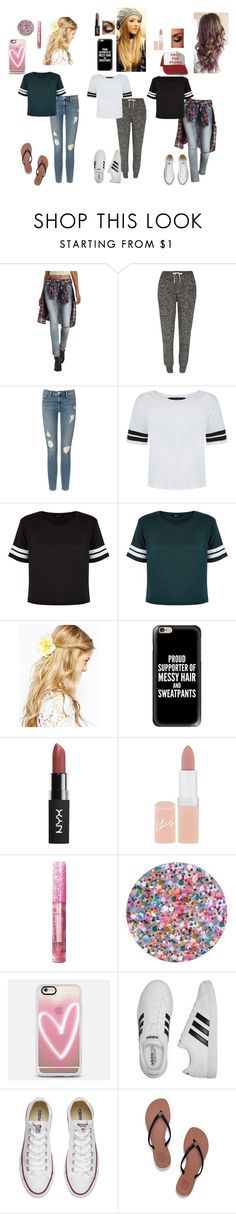 """Best Friends"" by shoppingismycardio99 on Polyvore featuring Refuge, River Island, Frame Denim, New Look, ASOS, Casetify, Rimmel, Deborah Lippmann, adidas and Converse"