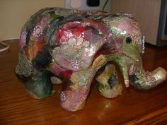 My second elephant with fabric decoupage