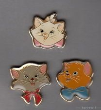 Japan Disney MARIE, BERLIOZ & TOULOUSE from ARISTOCATS 3 Head View Trio Pin Set