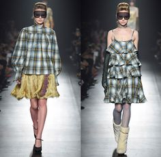 DressCamp by Toshikazu Iwaya 2015-2016 Fall Autumn Winter Womens Runway Catwalk Looks - Mercedes-Benz Fashion Week Tokyo Japan - Sheer Chiffon Lace Ruffles Silk Metallic Fringe Flapper Dress Quilted Puffer Paisley Plaid Tiered Velour Gilded Embroidery Gold Crest Dragon Gloves Fishnet Boots Goggles Miniskirt Stripes Jacquard Polka Dots Ornamental Print Blouse Hat Coatdress Outerwear Coat