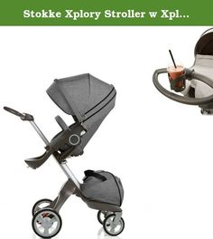 Stokke Xplory Stroller w Xplory Cup Holder (Black Melange). Stokke Xplory Stroller Black Melange with Cup Holder.