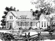 Farmhouse plan... make dining room into study & sunroom into dining room.... love it!