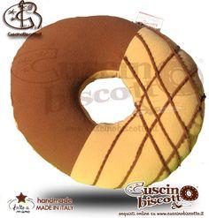 Cuscino Biscotto - Ciambella Glassata / Donuts Marrone/Beige1 (Fatto a mano in Italia)