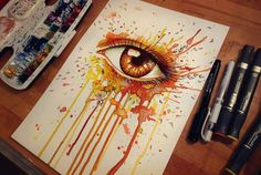 autumn color eye painting