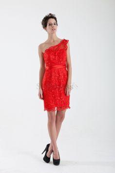 Hourglass Fall Spring Apple Beach Natural Waist Short Red One Shoulder Cocktail Dress