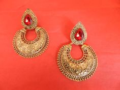 Indian Earrings Polki Ethnic Copper Jewelry Stylish Traditional Red Polki #RK #Earrings
