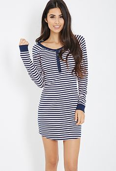 Striped Thermal Nightdress | FOREVER21 - 2000083826