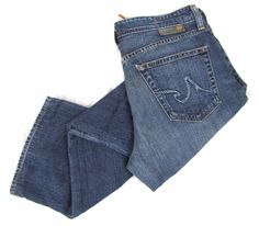 AG Adriano Goldschmied The Hero Jeans 32 x 29 Straight Leg Dark Blue Wash Denim #AGAdrianoGoldschmied #ClassicStraightLeg