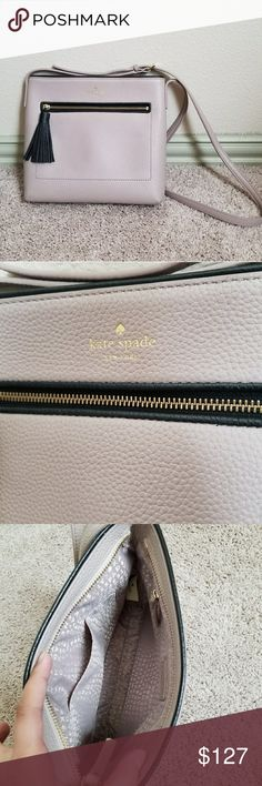 "Blush Pink Kate Spade Dessi Purse SIZE  9.8""h x 9.9""w x 1.6d""drop length: 22""  MATERIAL  pebbled cowhide leather with matching trim. capital kate jacquard lining. 14-karat light gold plated.   DETAILS  crossbody bag with zipper top closure and adjustable strap. interior zipper and slide pocket. exterior zipper pocket. gold foil embossed kate spade new york signature.   New without tags. Never  used.  After purchasing I found one at Dillard's I like  better. kate spade Bags Crossbody Bags"