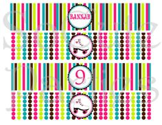 Roller Skate Party DIY Printable Circles in in Pink Lime Turquoise Brown
