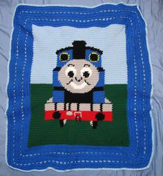 The Thomas the Train blanket I crocheted for Ewing.
