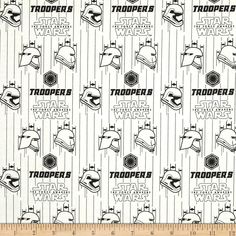 Star Wars The Force Awakens Storm Troopers White from @fabricdotcom  Designed by Star Wars & Lucasfilm and licensed to Camelot Fabrics, this cotton print is perfect for quilting, apparel and home decor accents.  Colors include black and white.