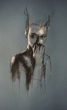 Guy Denning 'and the day starts' conte and chalk on paper 30 x 50 cm 20th December 2011