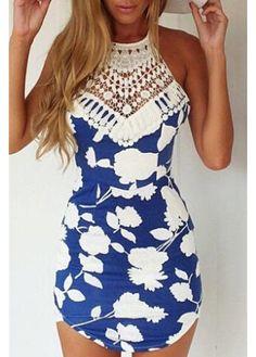 Sleeveless Cutout Back Lace Embroiedred Chiffon Dress