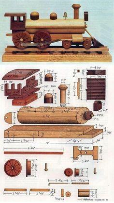 Wooden Locomotive Plans - Children's Wooden Toy Plans and Projects | WoodArchivist.com #woodworkingplans