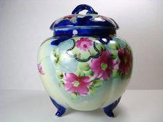 Vintage Porcelain Biscuit Jar  Flow Blue and Pink by Kisses4Lucy