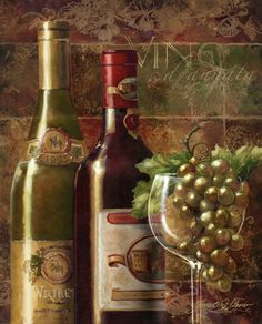 Wine art, Italian wine art, Tuscany, wine paintings by noted American artist Janet Stever.