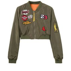 Oliver Green Patches Cropped Bomber Jacket (830 ARS) ❤ liked on Polyvore featuring outerwear, jackets, bomber jacket, brown bomber jacket, blouson jacket, olive bomber jackets and cotton bomber jacket