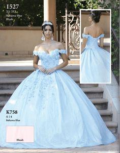 Cinderella Quinceanera Themes, Quinceanera Dresses, Off Shoulder Ball Gown, Shoulder Dress, Dancing Queen Dresses, Blue Ball Gowns, Bahama Blue, Quince Dresses, Blush Dresses