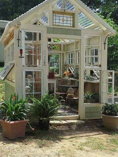 Shed DIY - garden shed from salvaged windows - greenhouse Now You Can Build ANY Shed In A Weekend Even If You've Zero Woodworking Experience! Outdoor Rooms, Outdoor Gardens, Outdoor Living, Outdoor Sheds, Backyard Greenhouse, Greenhouse Heaters, Greenhouse Ideas, Small Greenhouse, Old Window Greenhouse